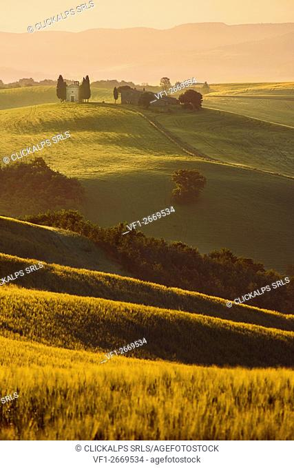 Italy, Tuscany, Siena District, Orcia Valley - Santa Vitaleta at Sunrise