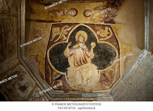 Fresco representing Jesus Christ. Ceiling of the Baptistery of Saint John ( Poitiers, France). The baptistery is considered to be the oldest existing christian...