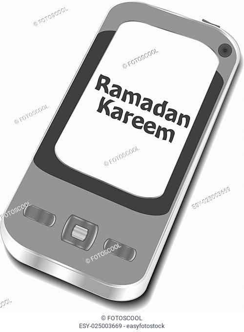 smart phone with ramadan kareem word on it