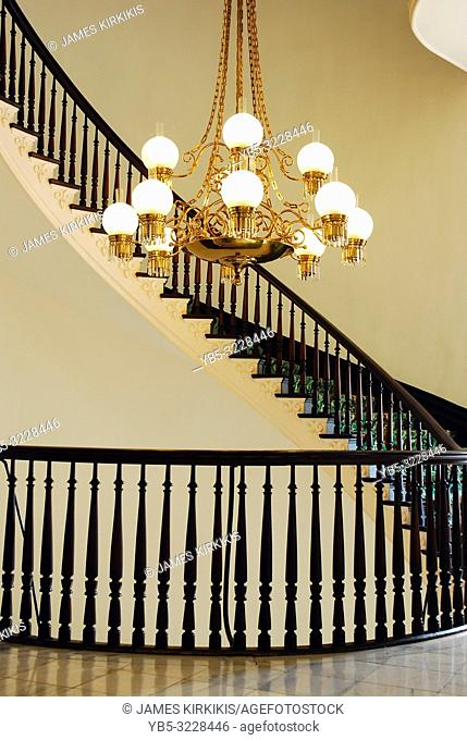 A curving staircase in the Alabama State Capitol, Montgomery