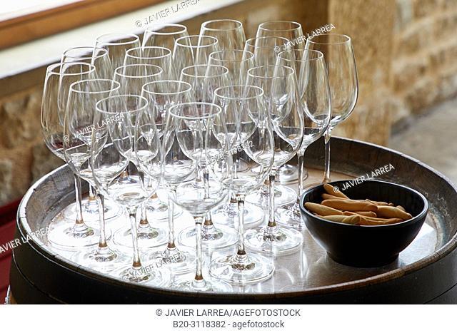 Wine glasses, Bodegas Marques de Riscal, Elciego, Rioja Alavesa, Araba, Basque Country, Spain, Europe