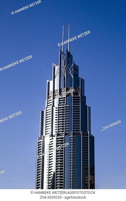 Modern architecture of the EMAAR towers in Downtown Dubai, Dubai