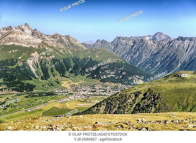 View from the Segantini Hut into the Engadine Valley towards Samedan and Muottas Muragl, Grisons, Switzerland