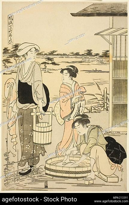 Ono no Komachi Washing the Copybook, from the series The Fashionable Seven Komachi (Furyu nana Komachi) - Edo period (1615–1868)