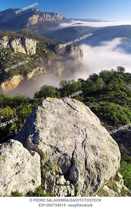 mountain landscape with fog in Vilanova de Meia, Lérida, Cataluña, Spain