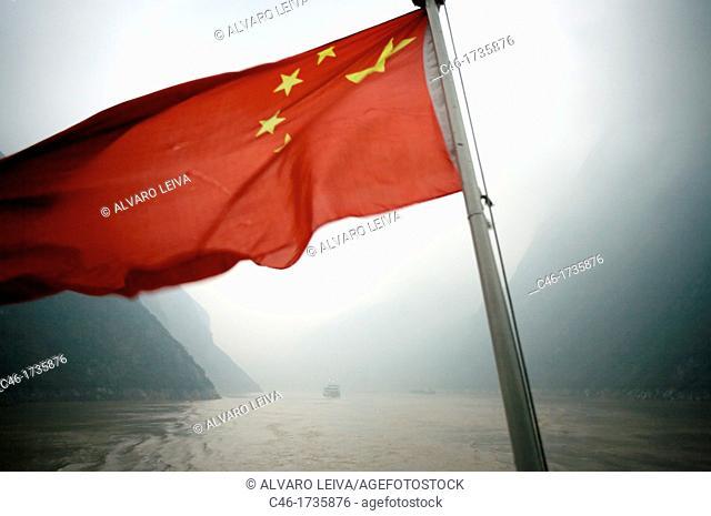 China Flag, The Three Gorges, Yangtze River, China