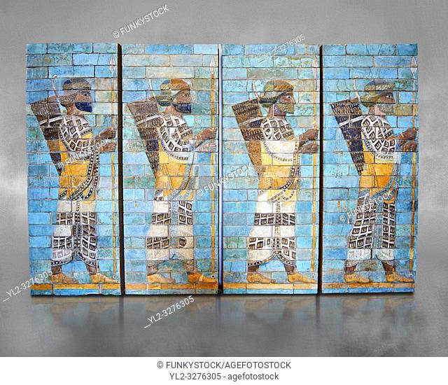 Coloured glazed terracotta brick panels depicting Achaemenid Persian royal bodyguards or archers. From the reign of Darius 1st and the First Persian or...
