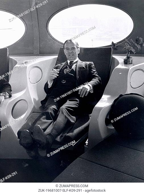 Oct 07, 1968 - London, England, United Kingdom - The Lord Mayor of London, SIR GILBERT INGLEFIELD, relaxes on one of the super chairs in the space like plastic...
