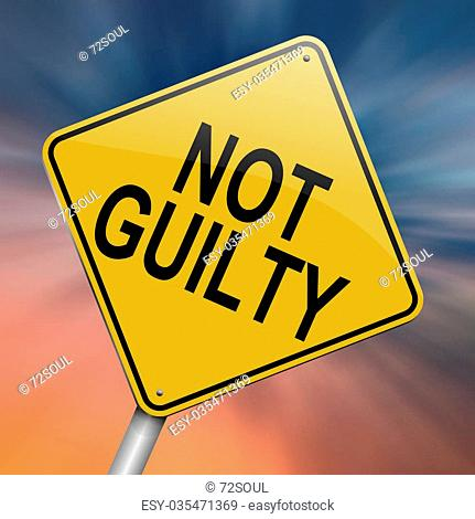 Illustration depicting a roadsign with a not guilty concept. Abstract background