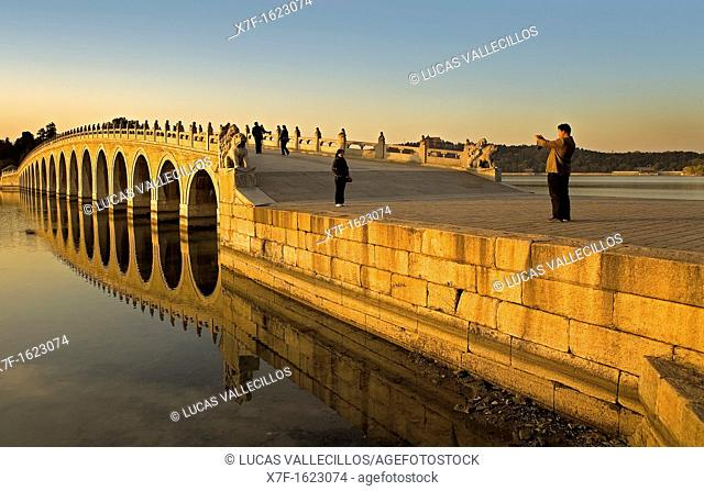 Summer Palace, in Kunming Lake  Seventeen arch bridge,Beijing, China