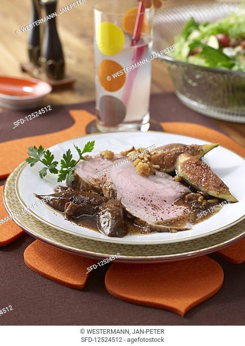 Honey roast beef with fig sauce