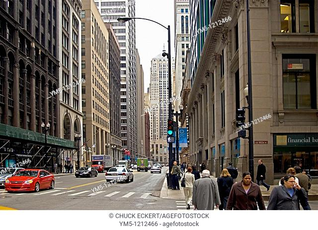 View of Chicago's Financial District on La Salle St  looking south towards the Chicago Board of Trade