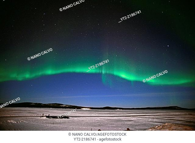 Aurora Borealis (Northern Lights) over Lake Inari, Lapland, Finland