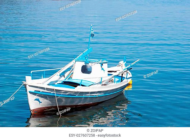 Traditional fishing boat on Lefkada island Greece