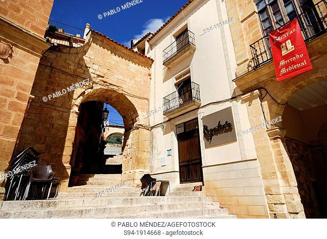 Archs in the main square of Alcaraz, Albacete province, Spain