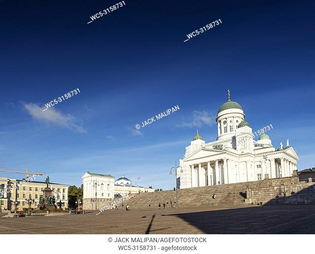 Senate square and city cathedral landmark in helsinki finland