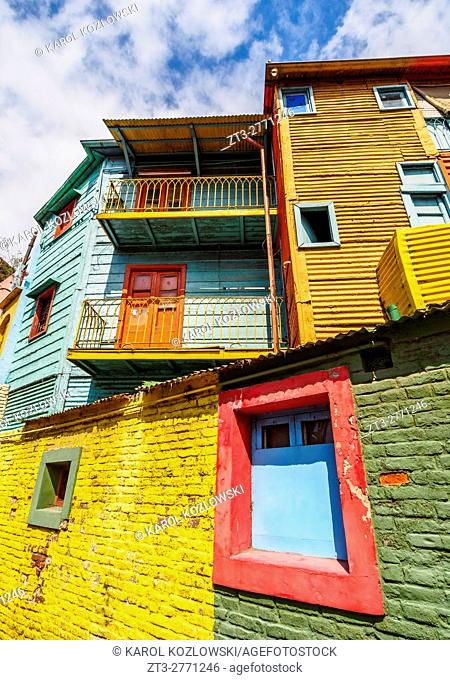 Argentina, Buenos Aires Province, City of Buenos Aires, La Boca, View of Colourful Caminito