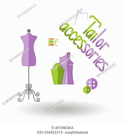 Tailor accessories. Icon for web and mobile application. Vector illustration on a white background. Flat design style