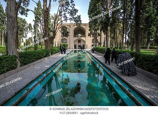 Pool in oldest extant Persian garden in Iran called Fin Garden (Bagh-e Fin), located in Kashan city