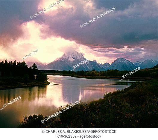 Sunset on Mount Moran from Oxbow Bend, Snake River. Grand Teton National Park. Teton County, Wyoming. USA