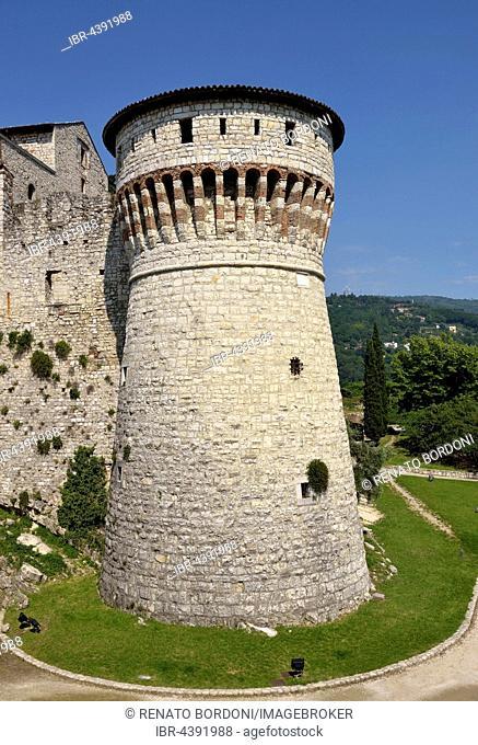 Tower of prisoners, prisoners tower, Brescia Castle, Castello di Brescia, Province of Brescia, Lombardy, Italy