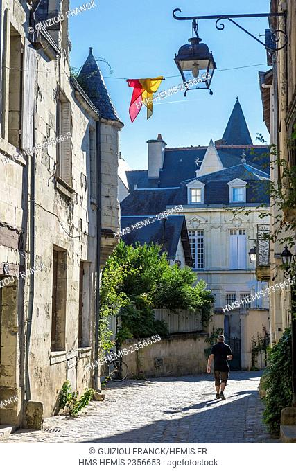 France, Indre et Loire, Loire valley listed as World Heritage by UNESCO, Chinon, the alleys at the foot of the fortress, Voltaire street