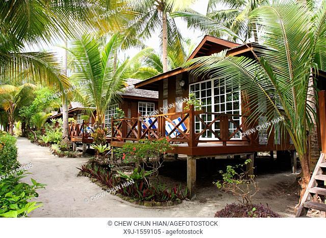 Tropical beach resort in Mabul Island, Sabah, Malaysia, Borneo