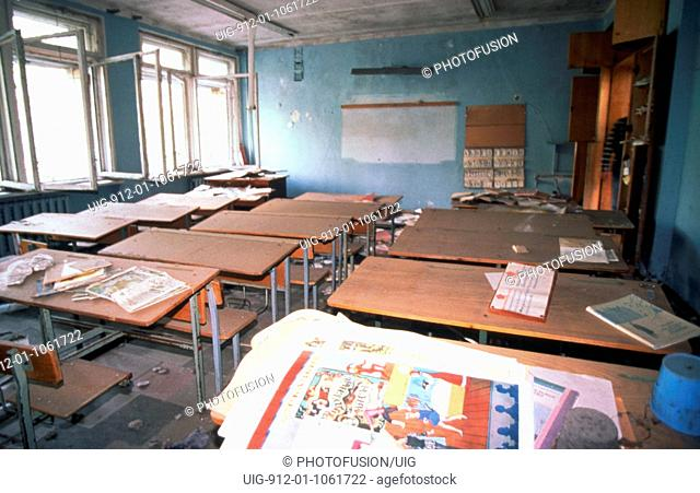 Prypiat, abandoned town near Chernobyl, Ukraine 28/4/2000. Remains of school in exlusion zone