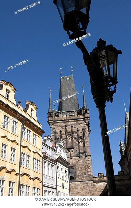 Tower at the Mala Strana end of Charles' Bridge, Prague, Czech Republic, Europe