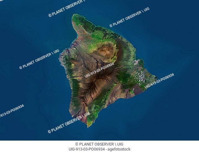 Satellite view of the Island of Hawaii, USA. The island is formed of five volcanoes, Mauna Loa being the largest. This image was compiled from data acquired by...