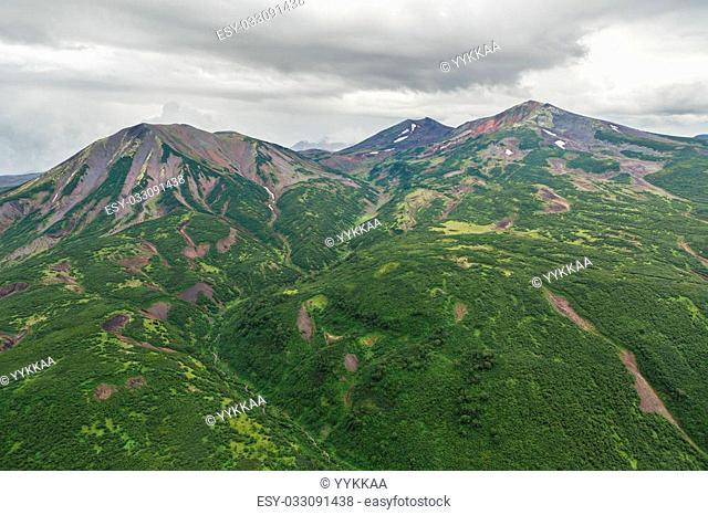 Kronotsky Nature Reserve on Kamchatka Peninsula. View from the helicopter