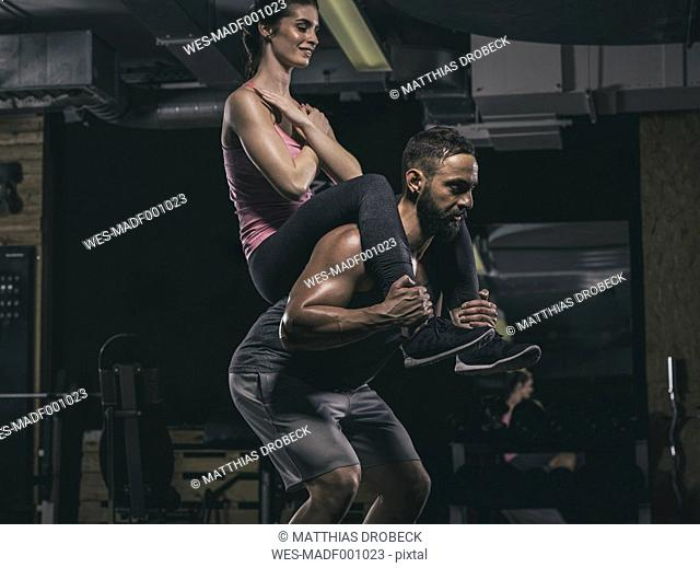 Fitness, couple in gym