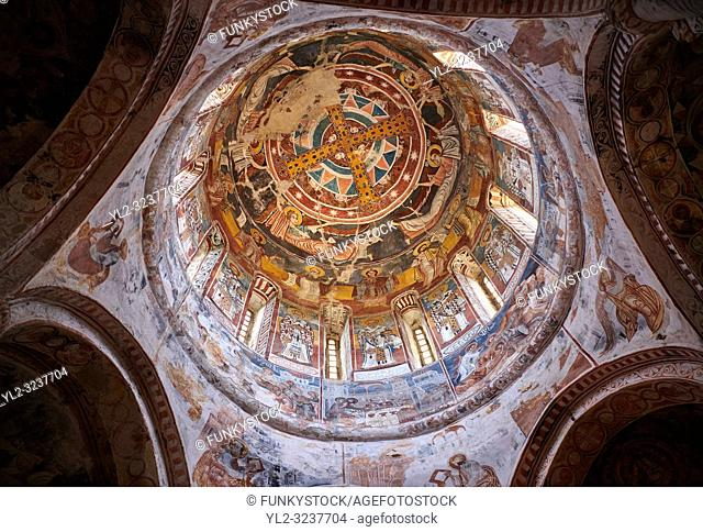 Pictures & images of Nikortsminda ( Nicortsminda ) St Nicholas Georgian Orthodox Cathedral rich interior frescoes of the cupola dome, 16th century, Nikortsminda