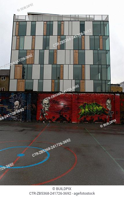 Modern artwork in recreation area surrounding a regenerated area of Lambeth, South London, UK