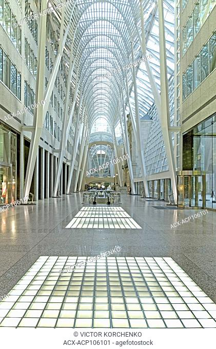 Brookfield Place office tower hallway deserted in early hours in downtown Toronto