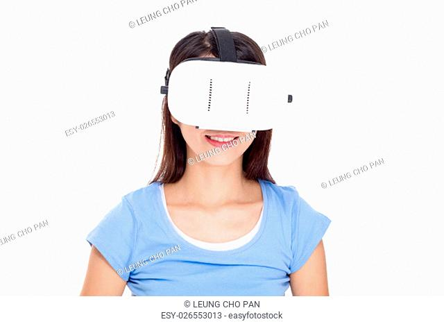 Woman wearig of vr device