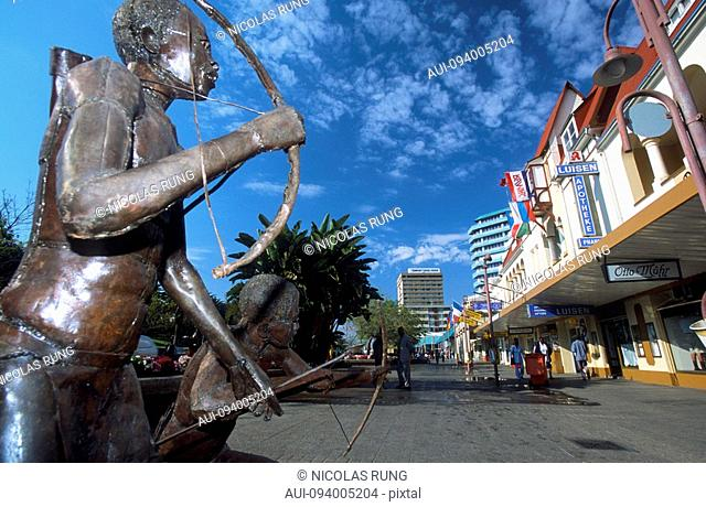 Namibia - Windhoek - Independence Avenue - Statues of traditional hunters