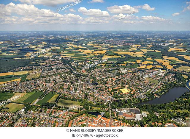 City view with Ems, Warendorf, Münsterland, North Rhine-Westphalia, Germany