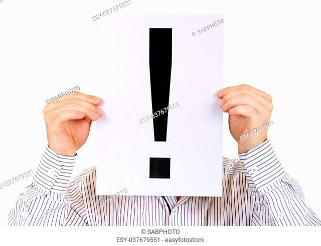 Person hold the Paper with a Exclamation Mark on the White Background