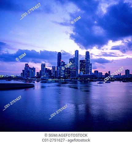 Central business district skyline with skyscrapers at twilight, Marina Bay, Singapore