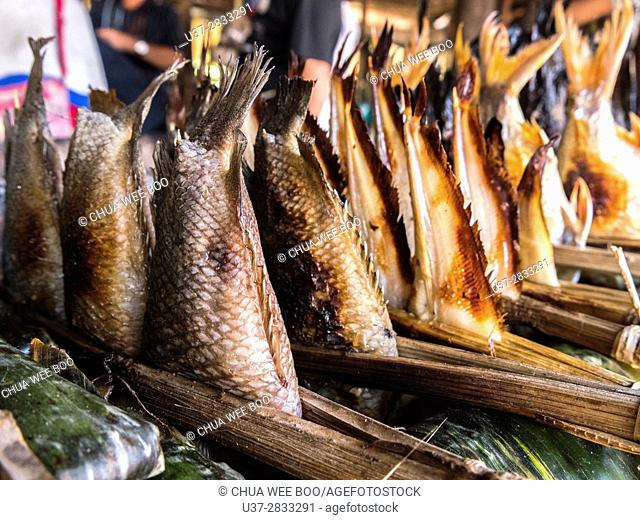 Grilled fish skewer, a popular snack for Cambodian people, Siem Reap, Cambodia
