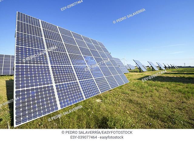 Photovoltaic panels for renewable electric production, Navarra, Aragon, Spain