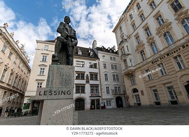 Ephraim Lessing Statue, German playwright and critic by Seigfried Charoux  The original was destoyed by the Nazis in 1939 who did not like a tribute to a writer...