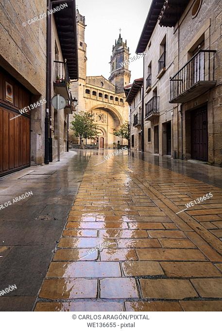 Reflections on the street. Elciego, Alava, Basque Country, Spain