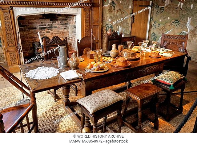 Elizabethan dining table set with typical foods, at Blakesley Hall is a Tudor hall on Blakesley Road, Yardley, Birmingham, England. It dates to 1590