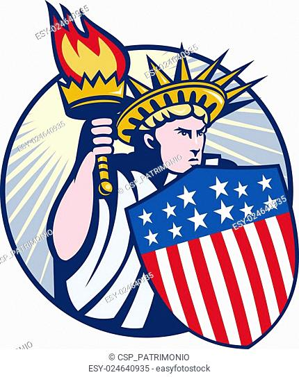 lady statue of liberty with torch and shield set inside oval