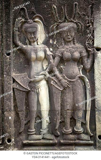 Relief engravings at Angkor Wat, Siem Reap, Cambodia. It was originally constructed as a Hindu temple dedicated to the god Vishnu for the Khmer Empire