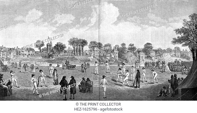 Cricket at Moulsey Hurst, 1890. Moulsey Hurst in Surrey is one of England's oldest sporting venues. An engraving from The Graphic, (14 June 1890)