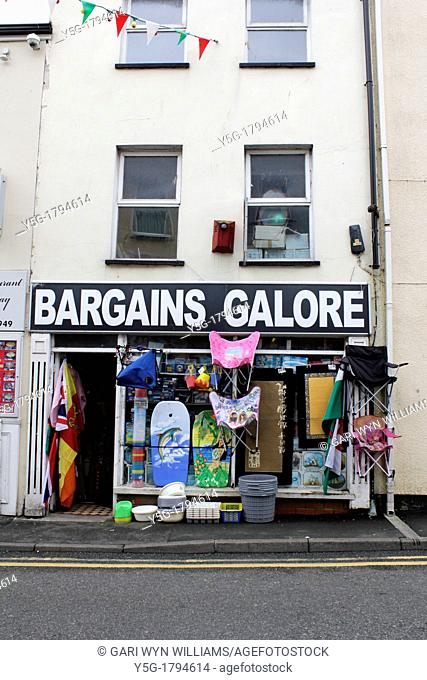 bargains galore shop in bangor, wales, uk