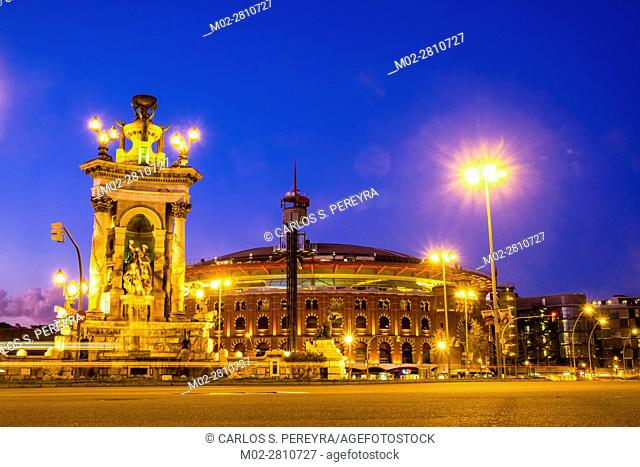 Plaza Espana square and Las Arenas shopping mall -antique bullring- in Barcelona Catalonia Spain